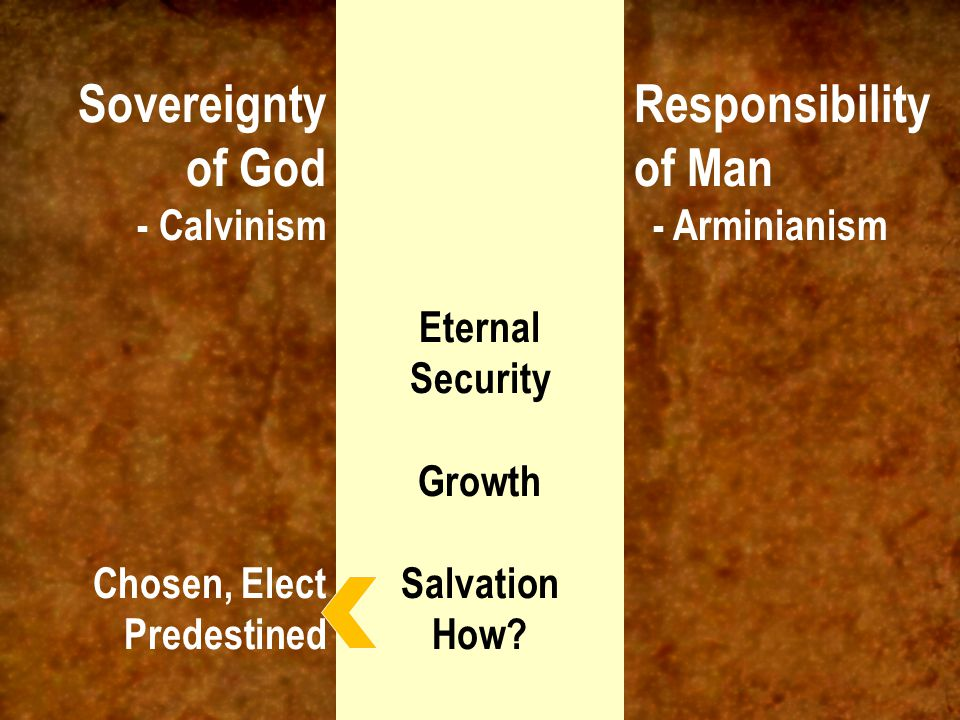 Sovereignty of God - Calvinism Work of God Chosen, Elect Predestined Responsibility of Man - Arminianism Work of Man Choice, available to all, belief Eternal Security Growth Salvation How?
