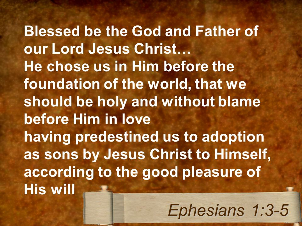 Blessed be the God and Father of our Lord Jesus Christ… He chose us in Him before the foundation of the world, that we should be holy and without blame before Him in love having predestined us to adoption as sons by Jesus Christ to Himself, according to the good pleasure of His will Ephesians 1:3-5