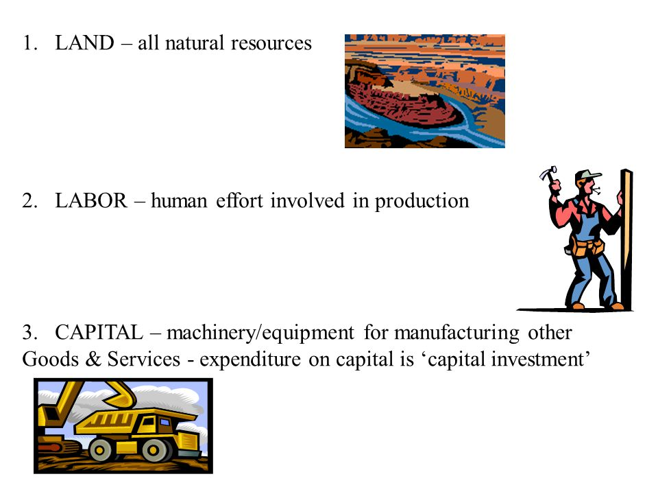 1.LAND – all natural resources 2.LABOR – human effort involved in production 3.CAPITAL – machinery/equipment for manufacturing other Goods & Services