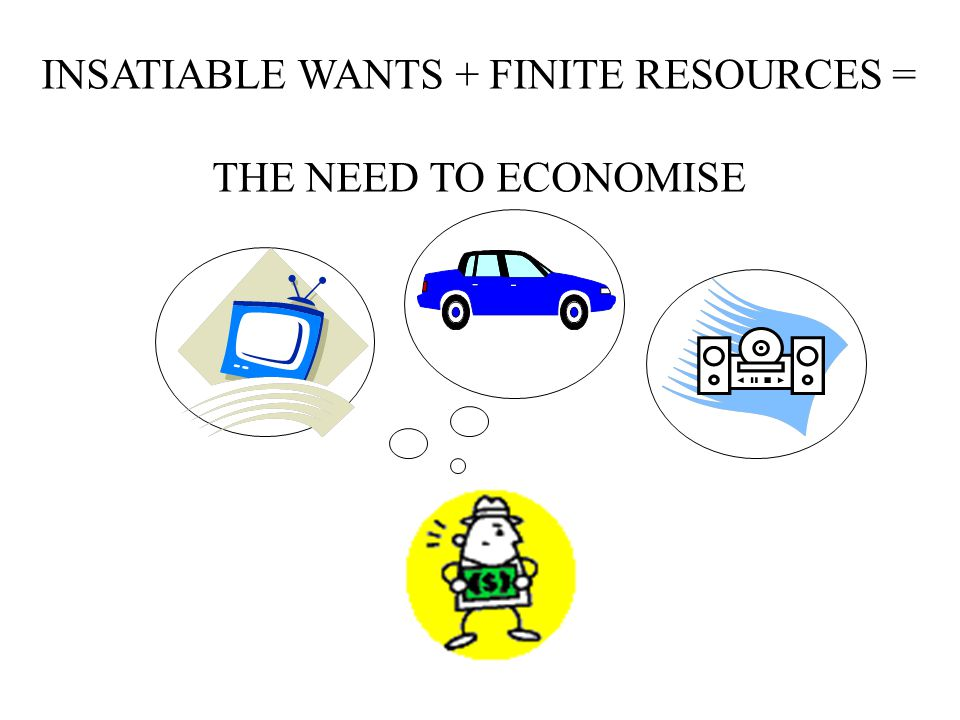 INSATIABLE WANTS + FINITE RESOURCES = THE NEED TO ECONOMISE