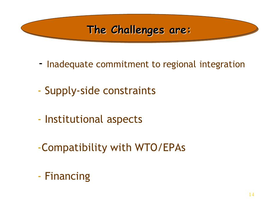 14 - Inadequate commitment to regional integration - - Supply-side constraints - - Institutional aspects - -Compatibility with WTO/EPAs - - Financing