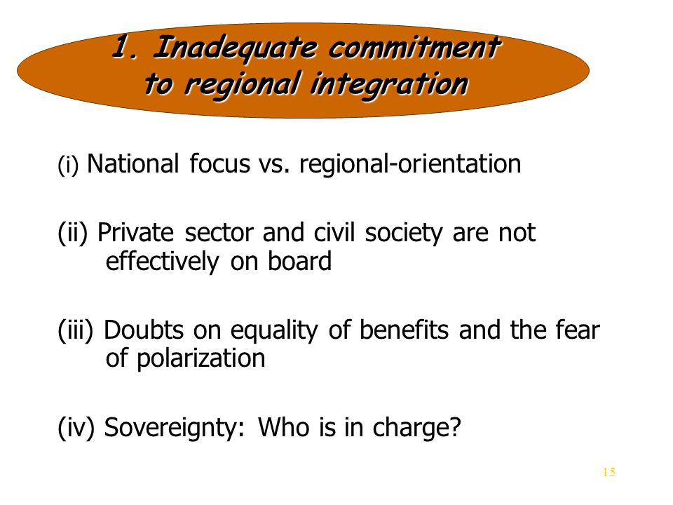 15 (i) National focus vs. regional-orientation (ii) Private sector and civil society are not effectively on board (iii) Doubts on equality of benefits