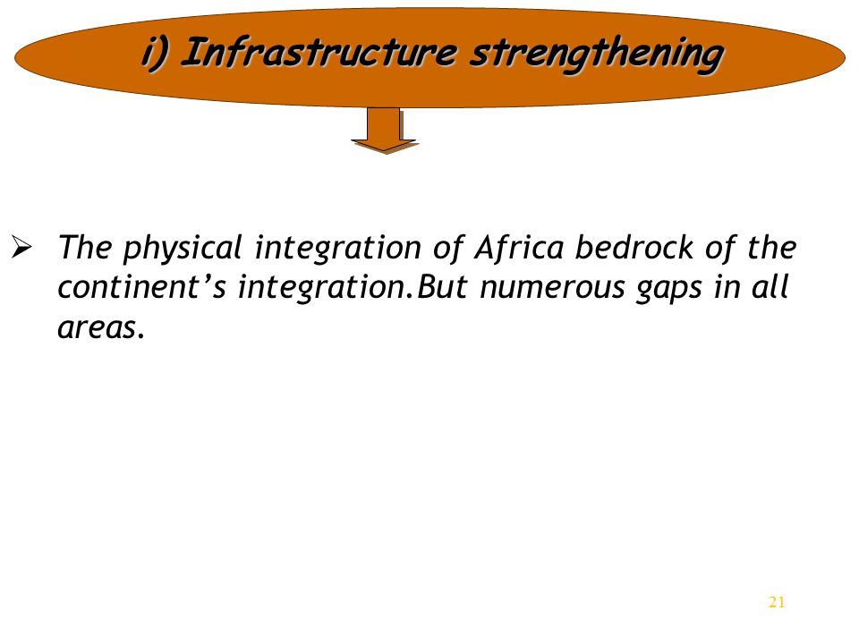 21 i) Infrastructure strengthening   The physical integration of Africa bedrock of the continent's integration.But numerous gaps in all areas. 21