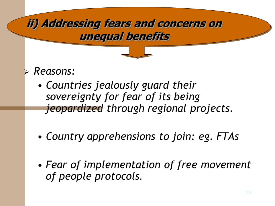 25   Reasons: Countries jealously guard their sovereignty for fear of its being jeopardized through regional projects. Country apprehensions to join