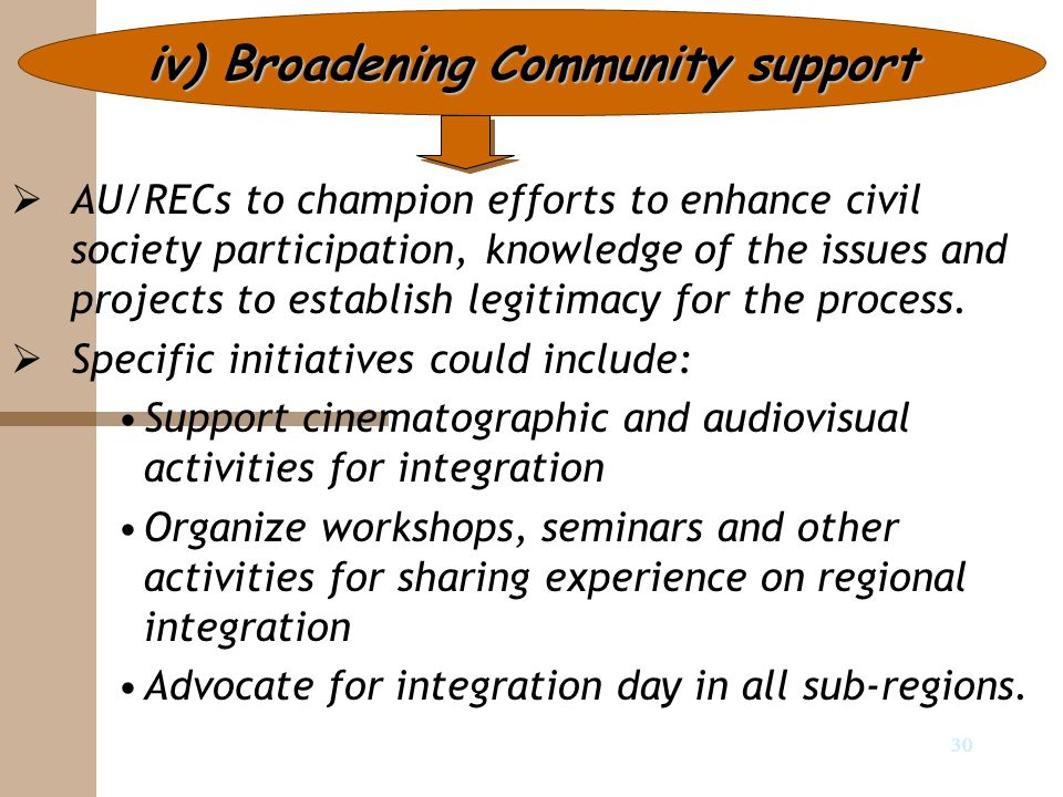 30 iv) Broadening Community support   AU/RECs to champion efforts to enhance civil society participation, knowledge of the issues and projects to es