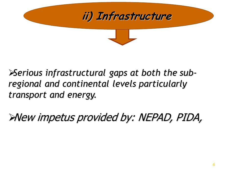 6 ii) Infrastructure  Serious infrastructural gaps at both the sub- regional and continental levels particularly transport and energy.  New impetus
