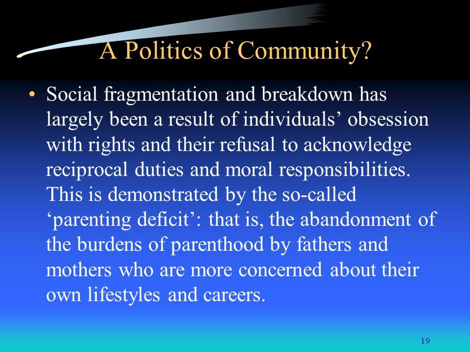 19 A Politics of Community.