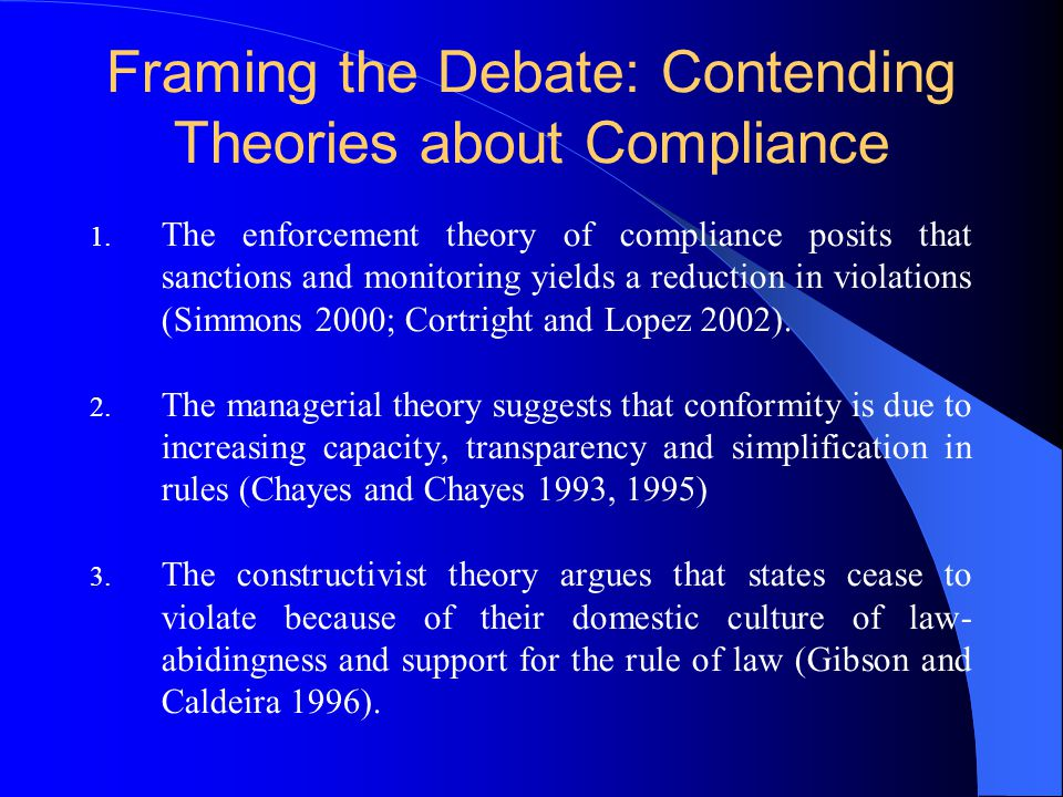 Framing the Debate: Contending Theories about Compliance 1.