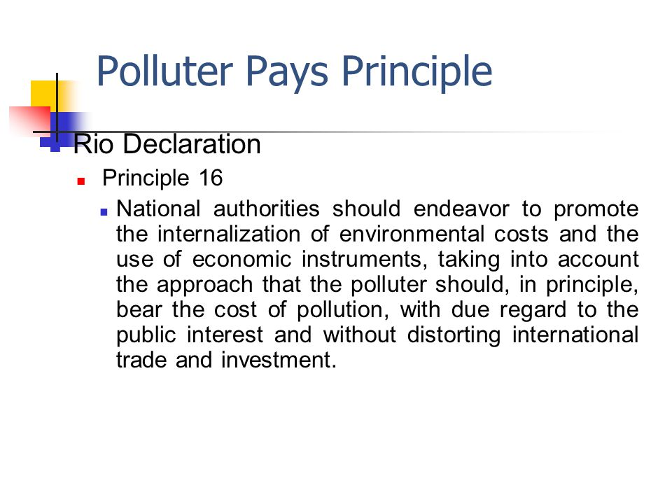 Polluter Pays Principle Rio Declaration Principle 16 National authorities should endeavor to promote the internalization of environmental costs and the use of economic instruments, taking into account the approach that the polluter should, in principle, bear the cost of pollution, with due regard to the public interest and without distorting international trade and investment.