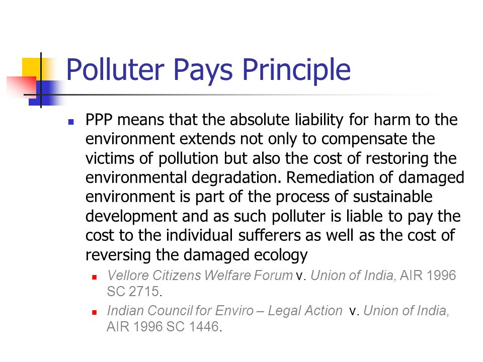 Polluter Pays Principle PPP means that the absolute liability for harm to the environment extends not only to compensate the victims of pollution but also the cost of restoring the environmental degradation.