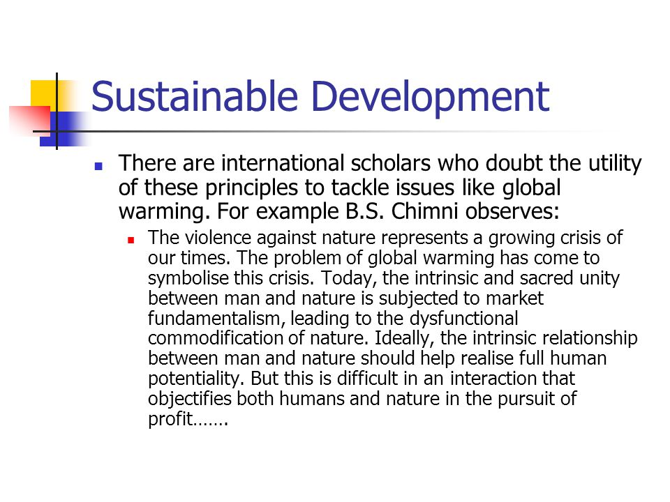 Sustainable Development There are international scholars who doubt the utility of these principles to tackle issues like global warming.