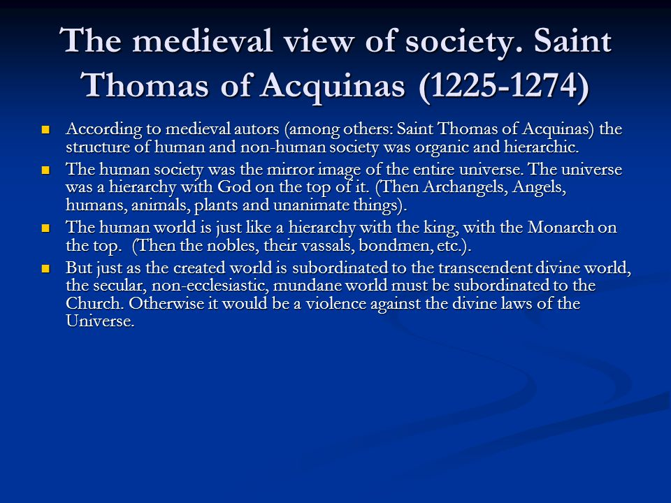 The medieval view of society.