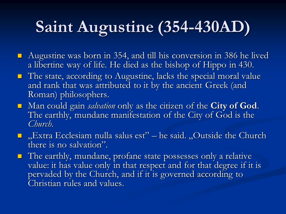 """""""The City of God Augustine wrote his ideas about this question mainly in his last main work, """"The City of God , """"De civitate Dei , 413-426."""