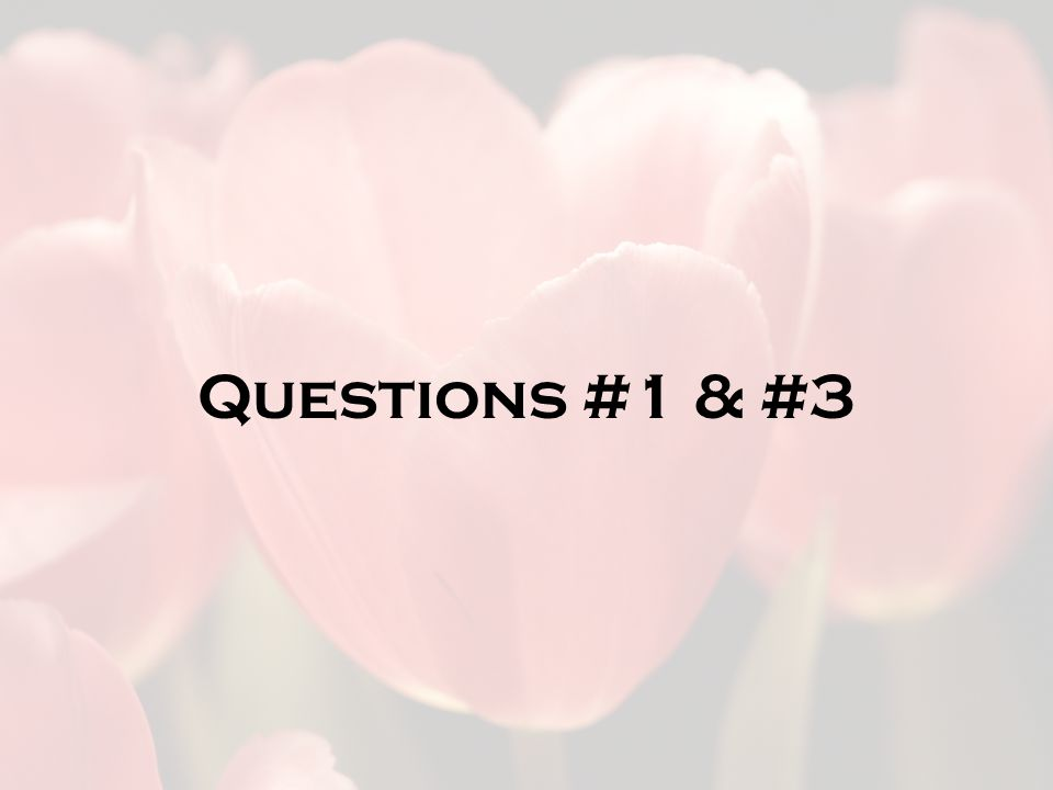 Questions #1 & #3