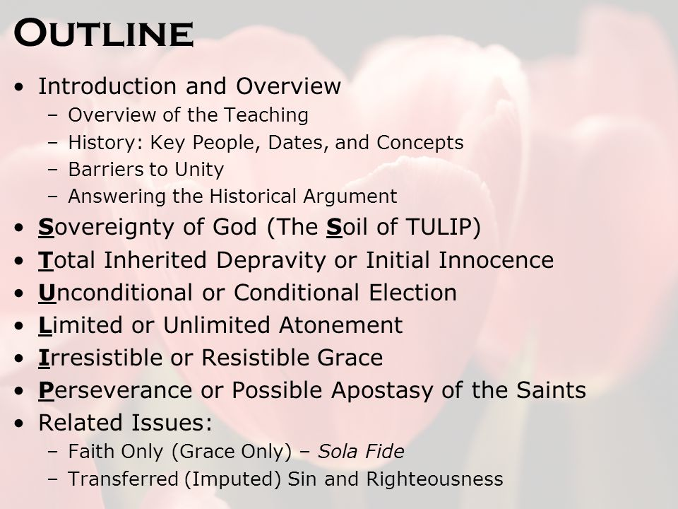 Outline Introduction and Overview –Overview of the Teaching –History: Key People, Dates, and Concepts –Barriers to Unity –Answering the Historical Argument Sovereignty of God (The Soil of TULIP) Total Inherited Depravity or Initial Innocence Unconditional or Conditional Election Limited or Unlimited Atonement Irresistible or Resistible Grace Perseverance or Possible Apostasy of the Saints Related Issues: –Faith Only (Grace Only) – Sola Fide –Transferred (Imputed) Sin and Righteousness