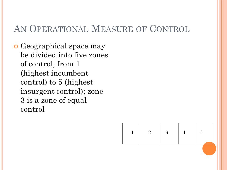 A N O PERATIONAL M EASURE OF C ONTROL Geographical space may be divided into five zones of control, from 1 (highest incumbent control) to 5 (highest i