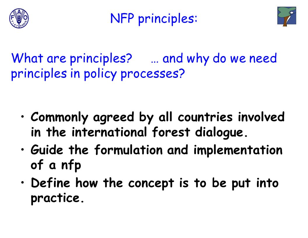 NFP principles: Commonly agreed by all countries involved in the international forest dialogue.