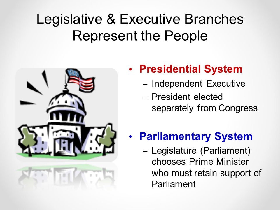 Legislative & Executive Branches Represent the People Presidential System – Independent Executive – President elected separately from Congress Parliamentary System – Legislature (Parliament) chooses Prime Minister who must retain support of Parliament