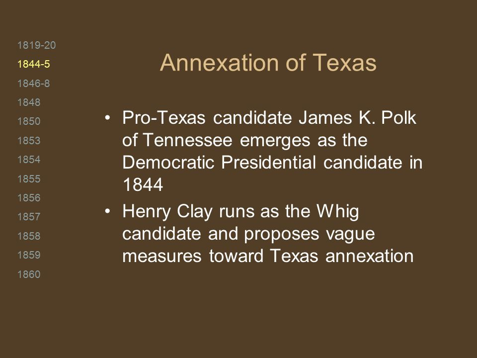 1819-20 1844-5 1846-8 1848 1850 1853 1854 1855 1856 1857 1858 1859 1860 Annexation of Texas Pro-Texas candidate James K. Polk of Tennessee emerges as