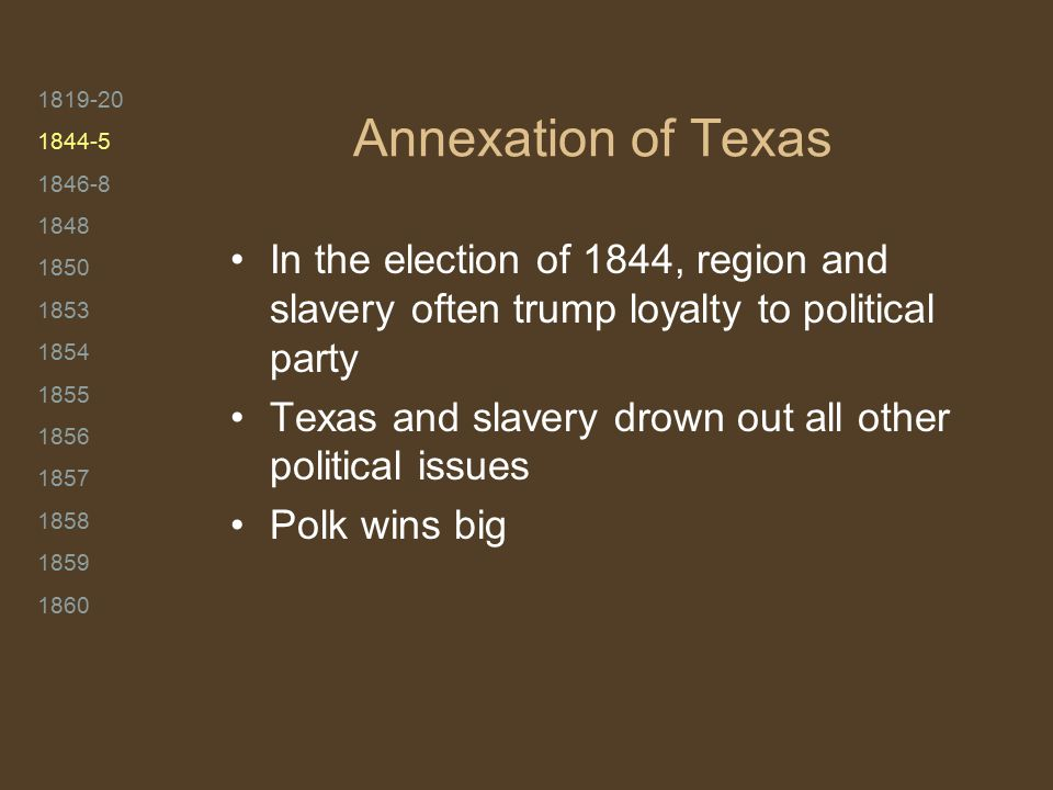 1819-20 1844-5 1846-8 1848 1850 1853 1854 1855 1856 1857 1858 1859 1860 Annexation of Texas In the election of 1844, region and slavery often trump lo