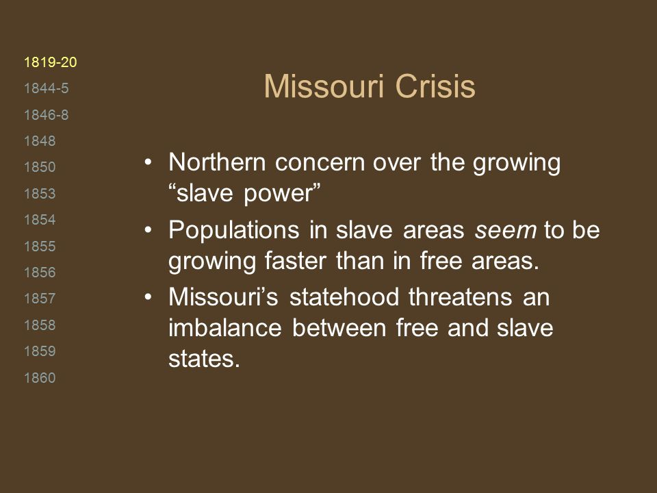 1819-20 1844-5 1846-8 1848 1850 1853 1854 1855 1856 1857 1858 1859 1860 Missouri Crisis Northern concern over the growing slave power Populations in slave areas seem to be growing faster than in free areas.