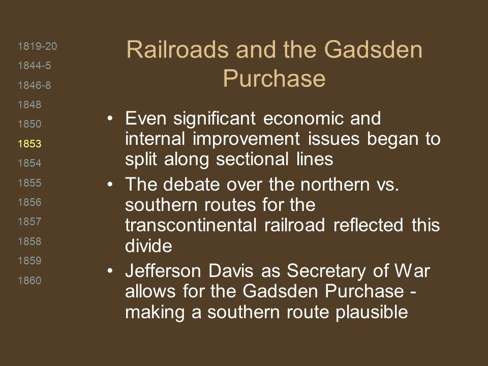 1819-20 1844-5 1846-8 1848 1850 1853 1854 1855 1856 1857 1858 1859 1860 Railroads and the Gadsden Purchase Even significant economic and internal improvement issues began to split along sectional lines The debate over the northern vs.