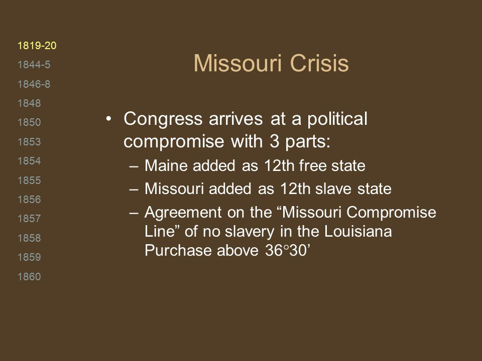1819-20 1844-5 1846-8 1848 1850 1853 1854 1855 1856 1857 1858 1859 1860 Missouri Crisis Congress arrives at a political compromise with 3 parts: –Main
