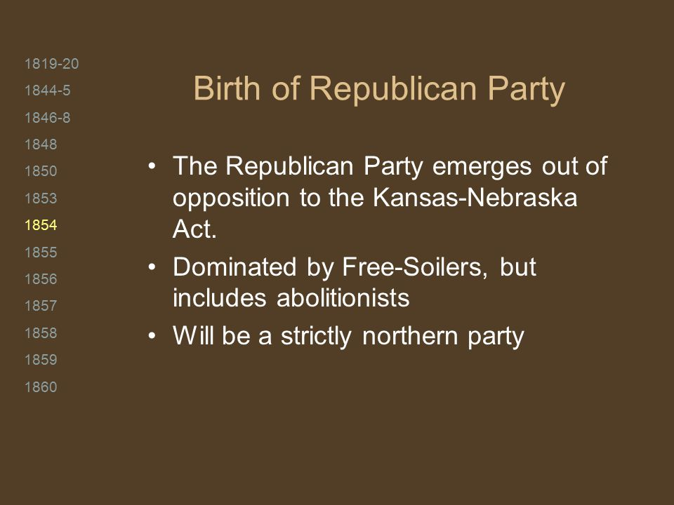 1819-20 1844-5 1846-8 1848 1850 1853 1854 1855 1856 1857 1858 1859 1860 Birth of Republican Party The Republican Party emerges out of opposition to the Kansas-Nebraska Act.