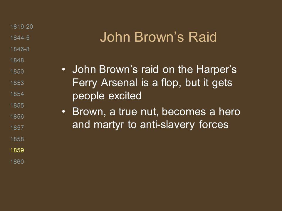 1819-20 1844-5 1846-8 1848 1850 1853 1854 1855 1856 1857 1858 1859 1860 John Brown's Raid John Brown's raid on the Harper's Ferry Arsenal is a flop, b