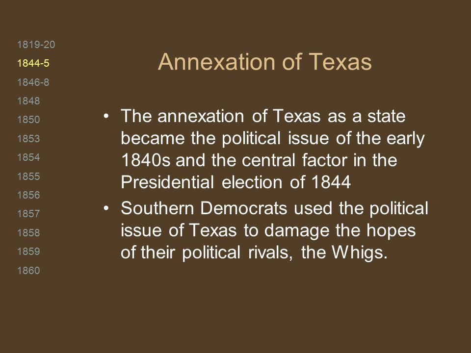 1819-20 1844-5 1846-8 1848 1850 1853 1854 1855 1856 1857 1858 1859 1860 Annexation of Texas The annexation of Texas as a state became the political is