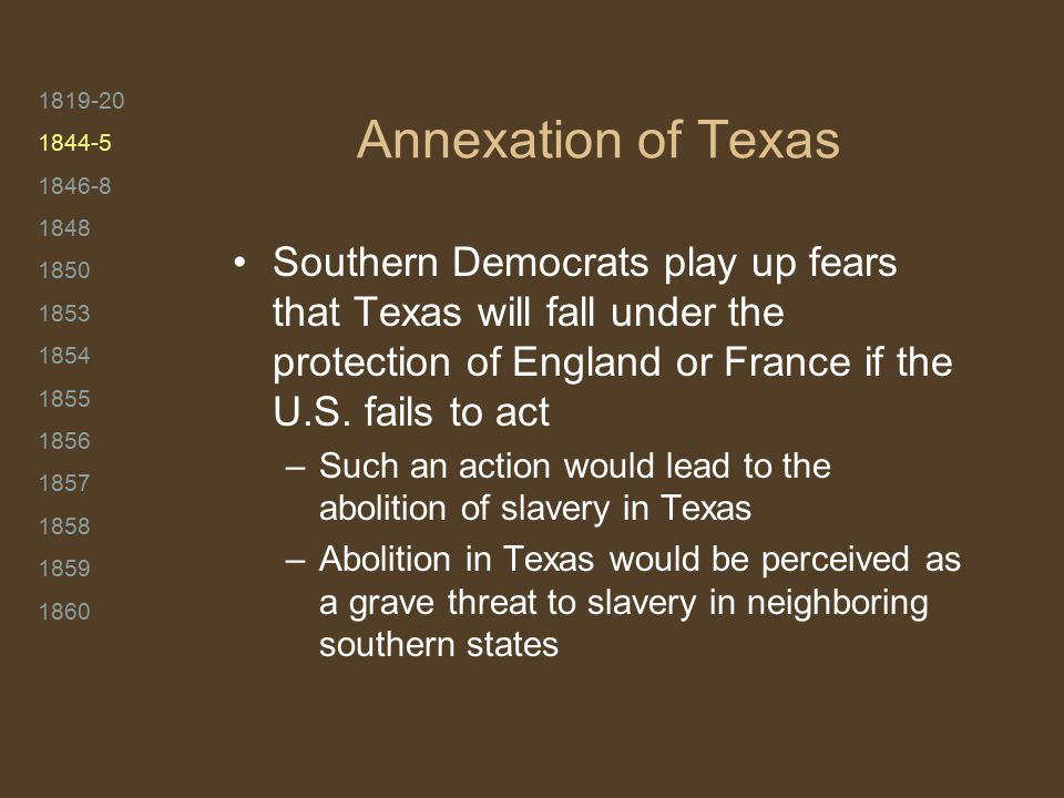 1819-20 1844-5 1846-8 1848 1850 1853 1854 1855 1856 1857 1858 1859 1860 Annexation of Texas Southern Democrats play up fears that Texas will fall under the protection of England or France if the U.S.