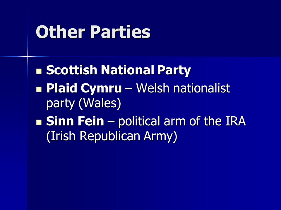 Other Parties Scottish National Party Scottish National Party Plaid Cymru – Welsh nationalist party (Wales) Plaid Cymru – Welsh nationalist party (Wal