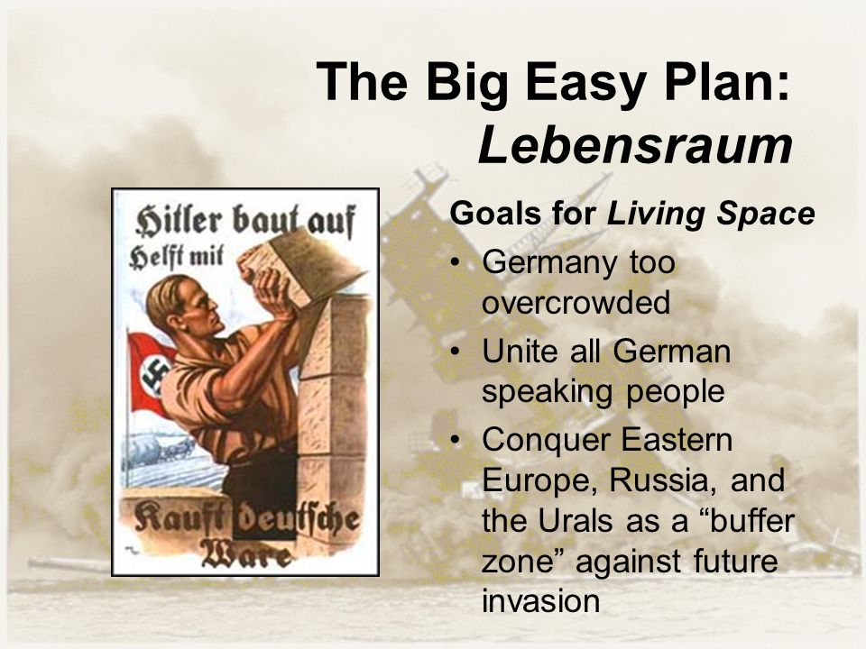 The Big Easy Plan: Lebensraum Goals for Living Space Germany too overcrowded Unite all German speaking people Conquer Eastern Europe, Russia, and the