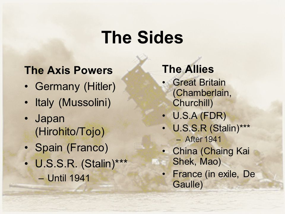 The Sides The Axis Powers Germany (Hitler) Italy (Mussolini) Japan (Hirohito/Tojo) Spain (Franco) U.S.S.R. (Stalin)*** –Until 1941 The Allies Great Br
