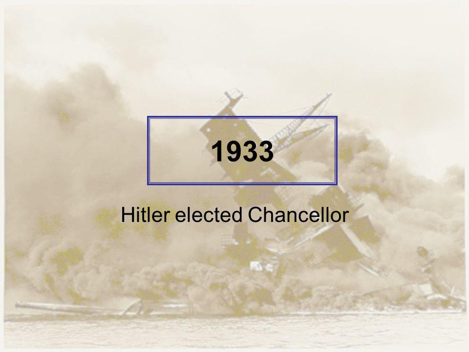 1933 Hitler elected Chancellor