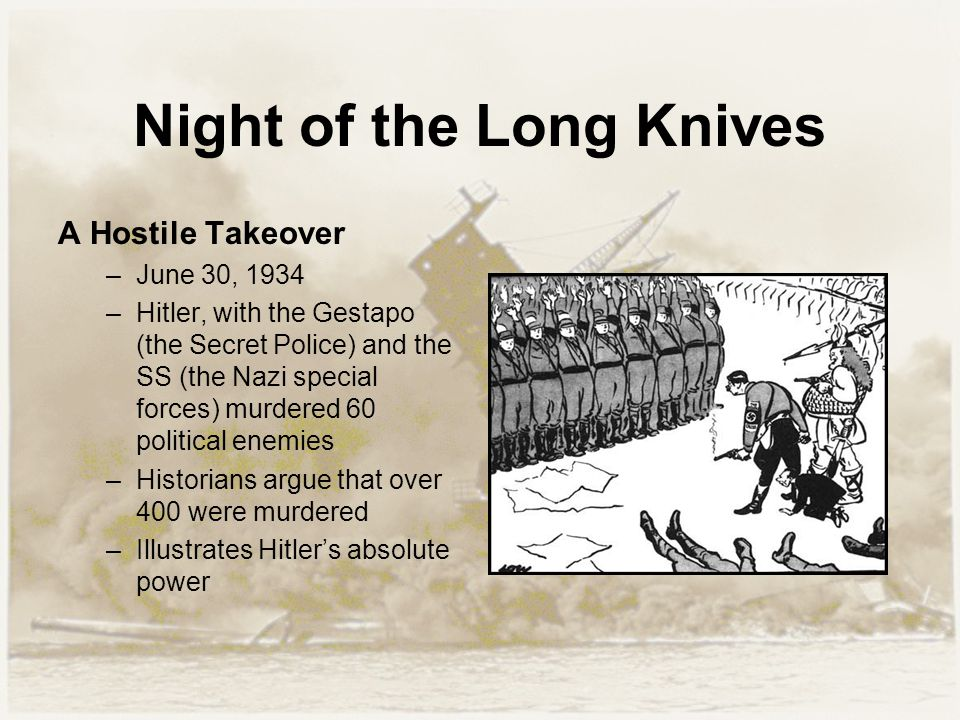 Night of the Long Knives A Hostile Takeover –June 30, 1934 –Hitler, with the Gestapo (the Secret Police) and the SS (the Nazi special forces) murdered