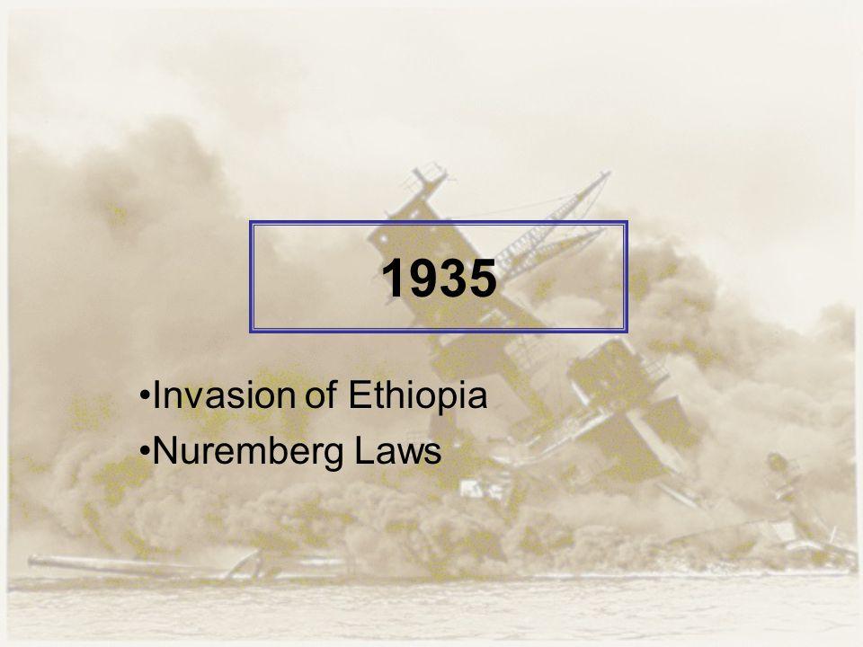 1935 Invasion of Ethiopia Nuremberg Laws