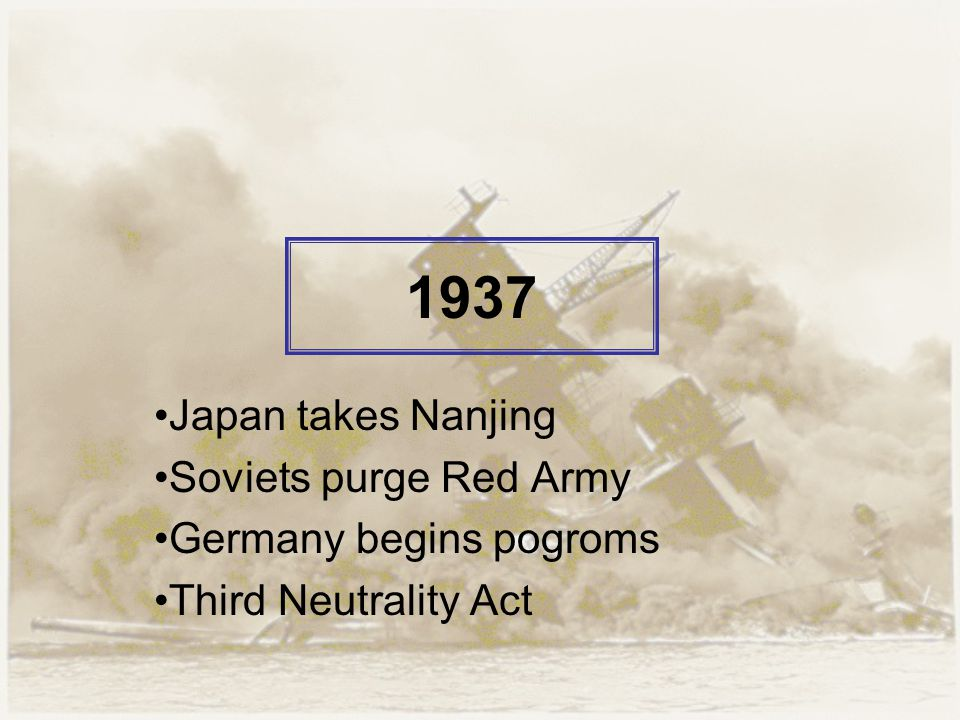 1937 Japan takes Nanjing Soviets purge Red Army Germany begins pogroms Third Neutrality Act