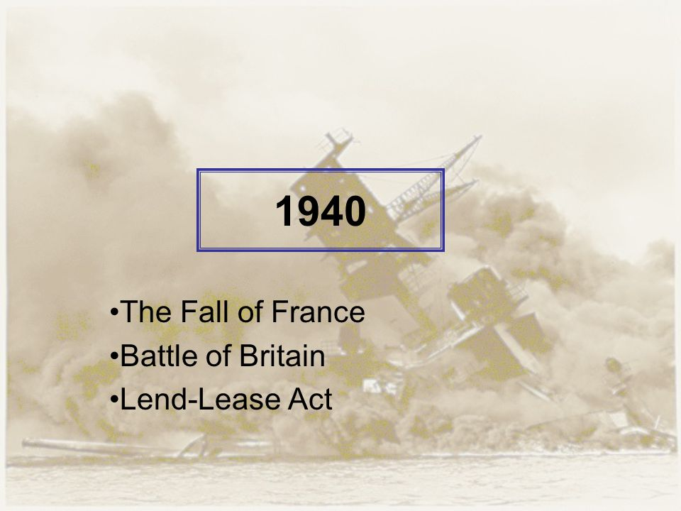 1940 The Fall of France Battle of Britain Lend-Lease Act