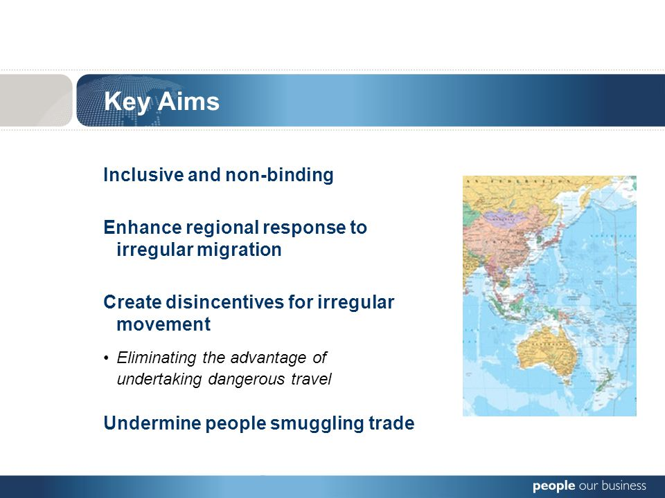 Key Aims Enhance regional response to irregular migration Create disincentives for irregular movement Eliminating the advantage of undertaking dangerous travel Undermine people smuggling trade Inclusive and non-binding