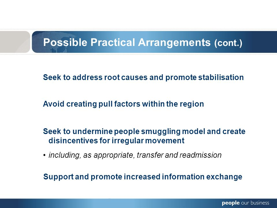 Seek to address root causes and promote stabilisation Possible Practical Arrangements (cont.) Avoid creating pull factors within the region Seek to undermine people smuggling model and create disincentives for irregular movement including, as appropriate, transfer and readmission Support and promote increased information exchange