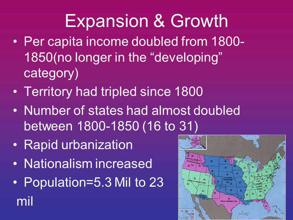Expansion & Growth Per capita income doubled from 1800- 1850(no longer in the developing category) Territory had tripled since 1800 Number of states had almost doubled between 1800-1850 (16 to 31) Rapid urbanization Nationalism increased Population=5.3 Mil to 23 mil
