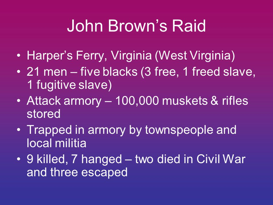 John Brown's Raid Harper's Ferry, Virginia (West Virginia) 21 men – five blacks (3 free, 1 freed slave, 1 fugitive slave) Attack armory – 100,000 muskets & rifles stored Trapped in armory by townspeople and local militia 9 killed, 7 hanged – two died in Civil War and three escaped