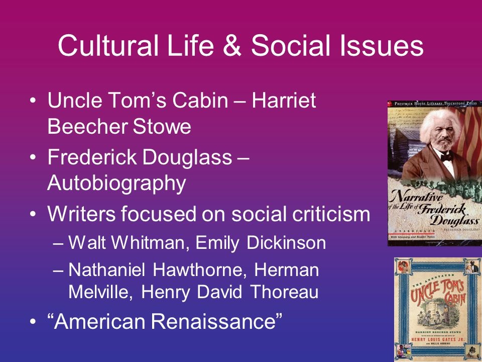 Cultural Life & Social Issues Uncle Tom's Cabin – Harriet Beecher Stowe Frederick Douglass – Autobiography Writers focused on social criticism –Walt Whitman, Emily Dickinson –Nathaniel Hawthorne, Herman Melville, Henry David Thoreau American Renaissance