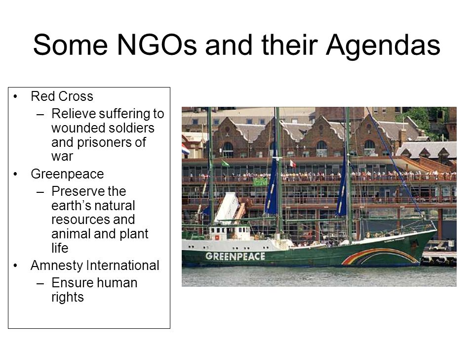 Some NGOs and their Agendas Red Cross –Relieve suffering to wounded soldiers and prisoners of war Greenpeace –Preserve the earth's natural resources and animal and plant life Amnesty International –Ensure human rights