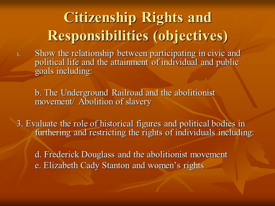 Citizenship Rights and Responsibilities (objectives) 1.