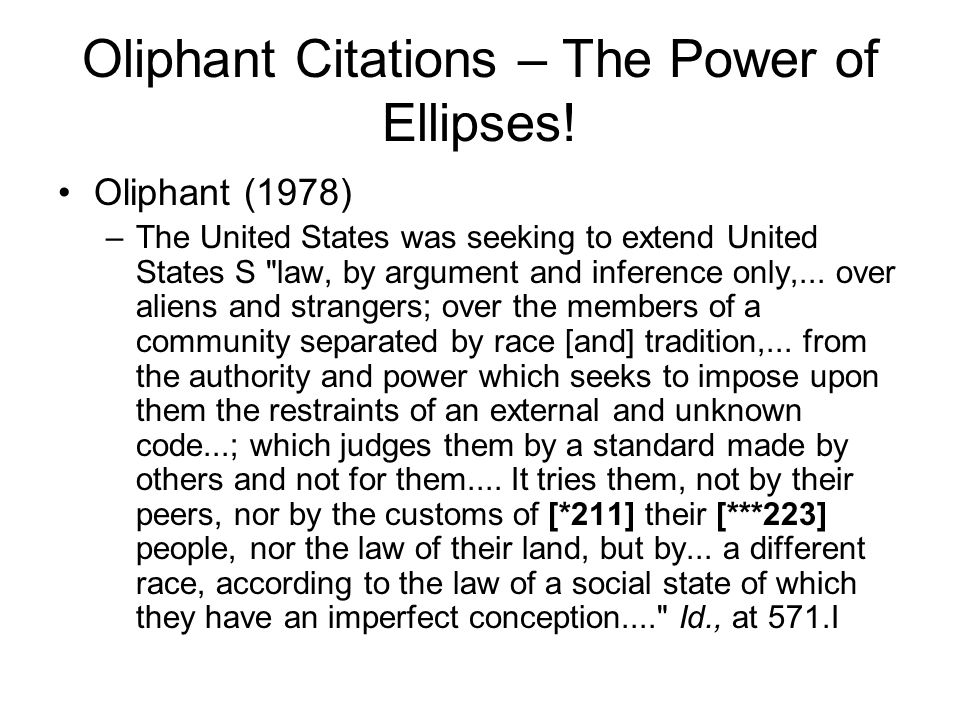 Oliphant Citations – The Power of Ellipses.