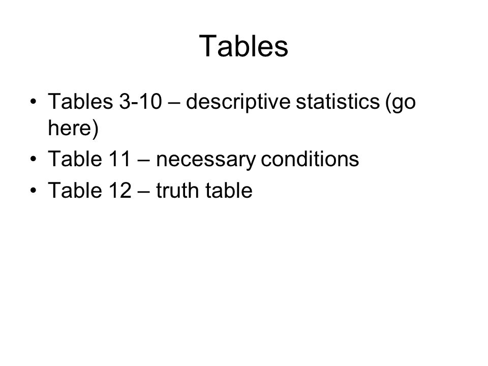 Tables Tables 3-10 – descriptive statistics (go here) Table 11 – necessary conditions Table 12 – truth table