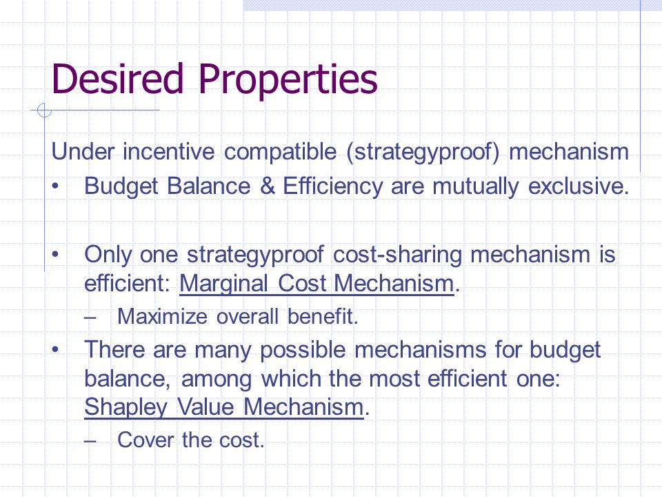 Desired Properties Under incentive compatible (strategyproof) mechanism Budget Balance & Efficiency are mutually exclusive.