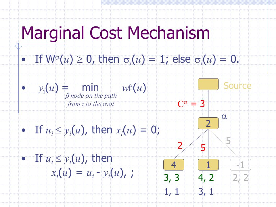 Marginal Cost Mechanism If W  ( u )  0, then  i ( u ) = 1; else  i ( u ) = 0.